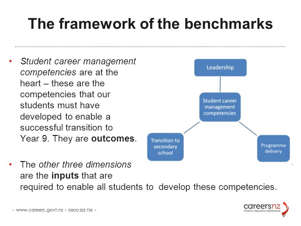 The framework of the benchmarks Student career management competencies are at the heart – these are the competencies that our students must have developed to enable a successful transition to Year 9.