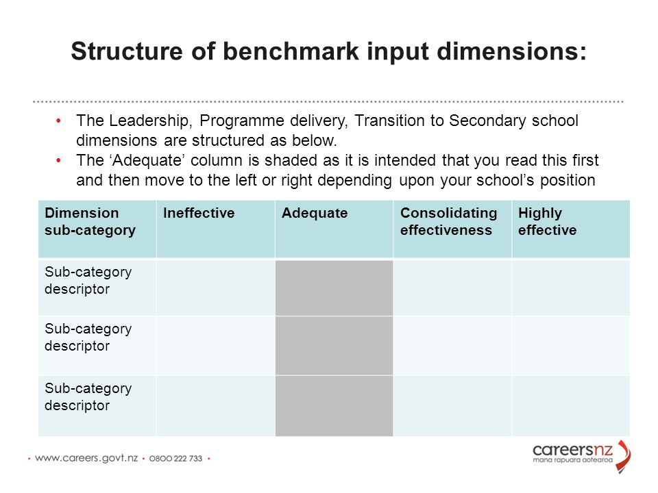 Structure of benchmark input dimensions: Dimension sub-category IneffectiveAdequateConsolidating effectiveness Highly effective Sub-category descriptor The Leadership, Programme delivery, Transition to Secondary school dimensions are structured as below.