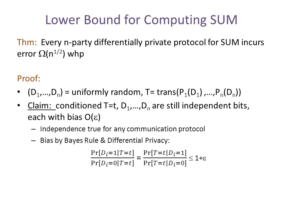 Lower Bound for Computing SUM