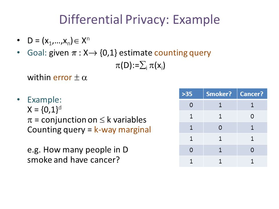 Multiparty Computational Differential Privacy Require:  nonuniform poly(k)-time P -i *,  databases D i, D' i that differ on one row, Pr[out P -i * (P -i *,P i (D i ))=1]  e   Pr[out P -i * (P -i *,P i (D' i ))=1] + negl(k) P 1 (D 1 ) P 2 (D 2 ) P 3 (D 3 ) P 4 (D 4 ) P 5 (D 5 ) P -5 *` 0/1