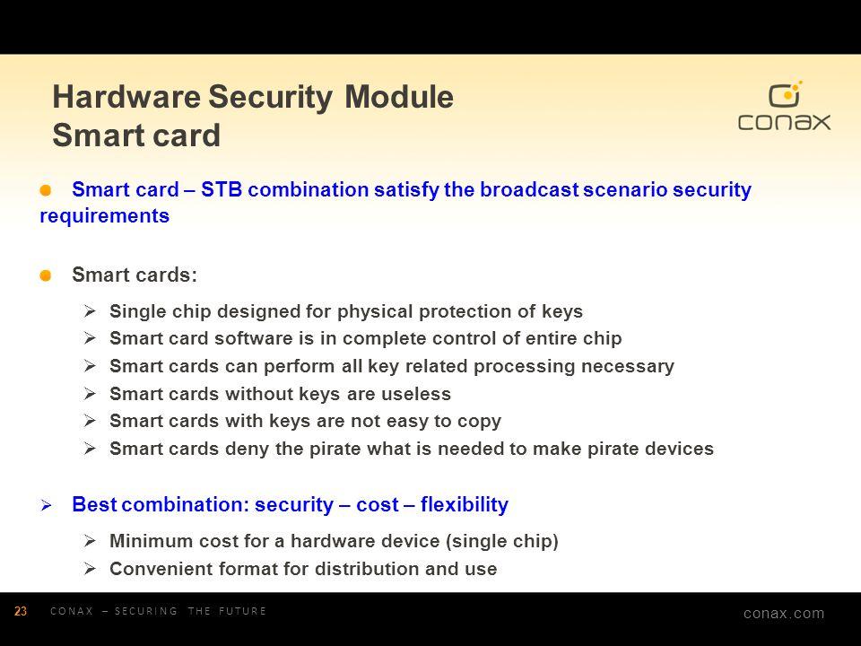 conax.com Hardware Security Module Smart card CONAX – SECURING THE FUTURE 23 Smart card – STB combination satisfy the broadcast scenario security requ