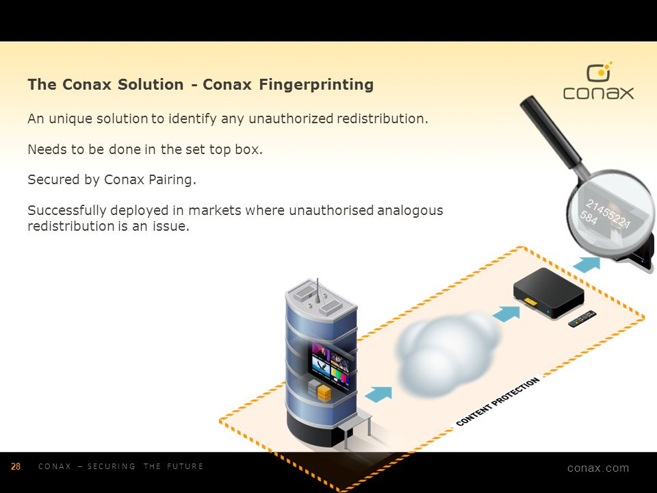 conax.com The Conax Solution - Conax Fingerprinting An unique solution to identify any unauthorized redistribution. Needs to be done in the set top bo
