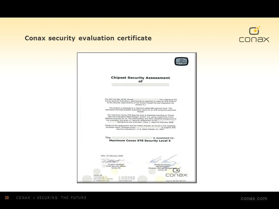 conax.com Conax security evaluation certificate 30 CONAX – SECURING THE FUTURE