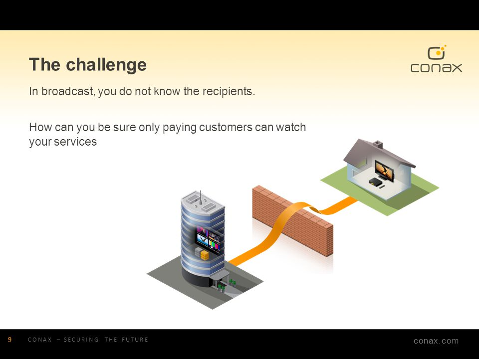 conax.com The challenge In broadcast, you do not know the recipients. How can you be sure only paying customers can watch your services CONAX – SECURI