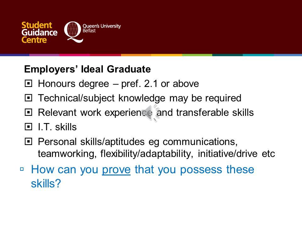 Employers' Ideal Graduate  Honours degree – pref.