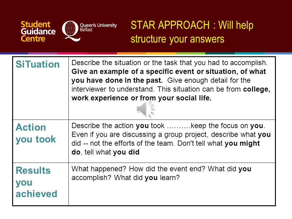 STAR APPROACH : Will help structure your answers SiTuation Describe the situation or the task that you had to accomplish.