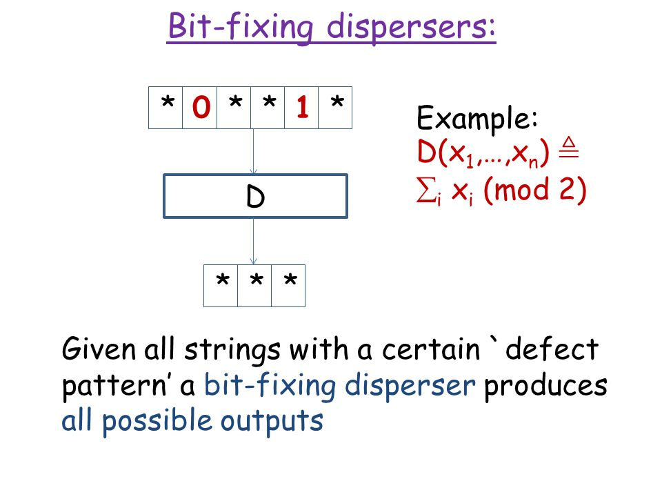 Bit-fixing dispersers: *0**1**** Given all strings with a certain `defect pattern' a bit-fixing disperser produces all possible outputs D Example: D(x 1,…,x n ),  i x i (mod 2)