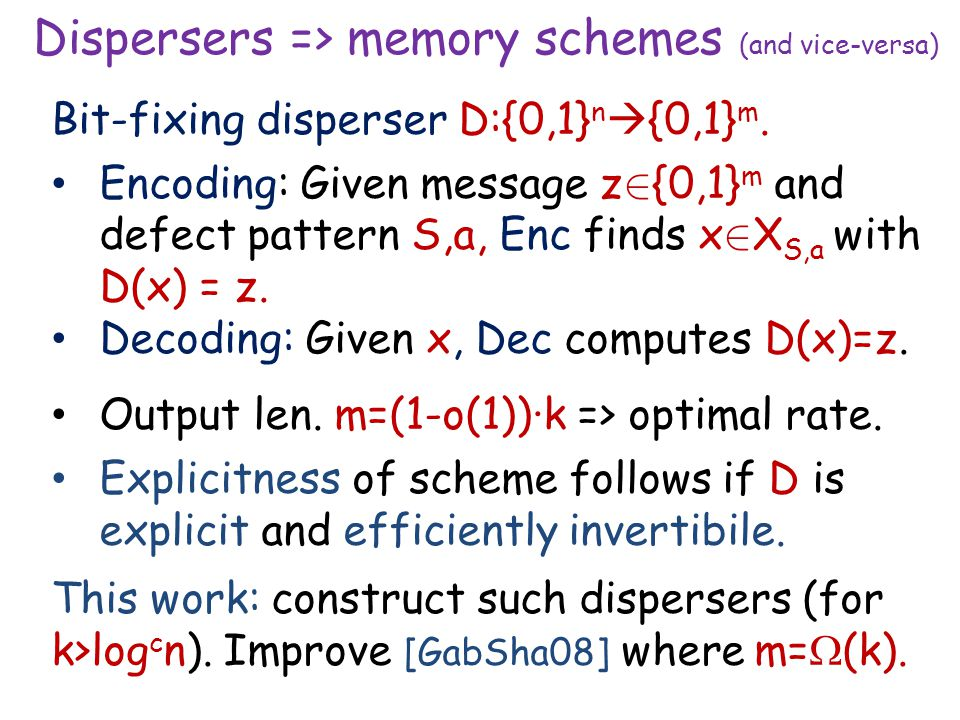 Dispersers => memory schemes (and vice-versa) Bit-fixing disperser D:{0,1} n  {0,1} m.
