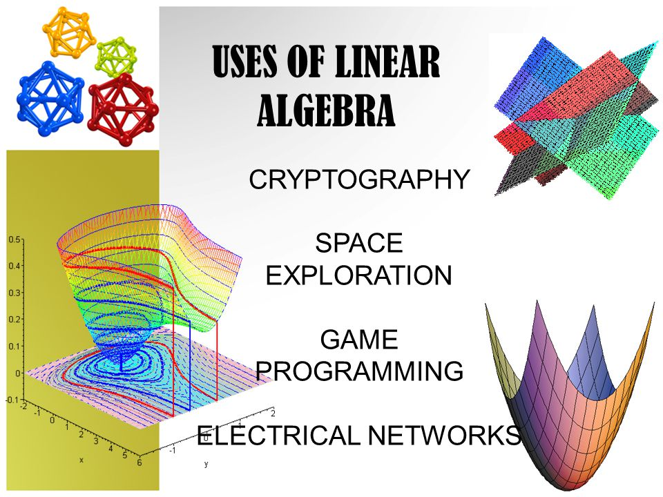 USES OF LINEAR ALGEBRA CRYPTOGRAPHY SPACE EXPLORATION GAME PROGRAMMING ELECTRICAL NETWORKS