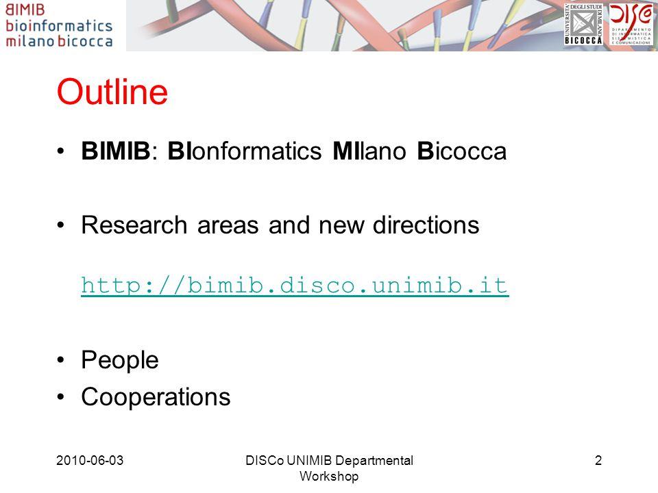Outline BIMIB: BIonformatics MIlano Bicocca Research areas and new directions http://bimib.disco.unimib.it http://bimib.disco.unimib.it People Cooperations 2010-06-032DISCo UNIMIB Departmental Workshop