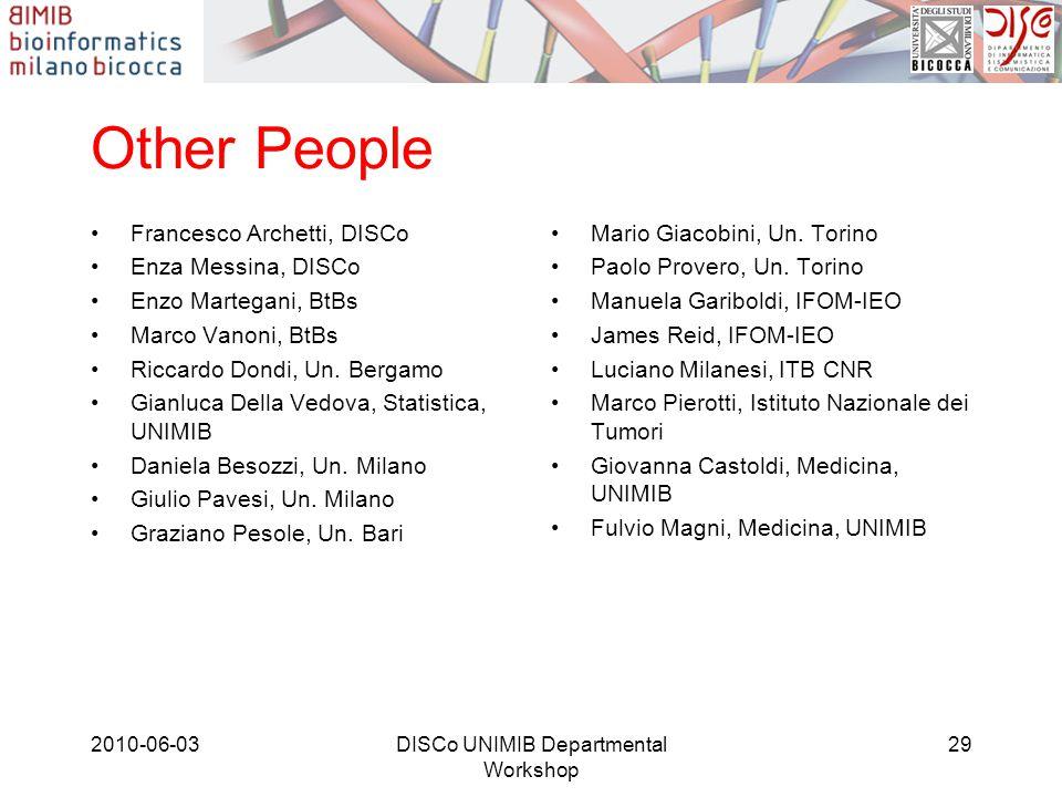 Other People Francesco Archetti, DISCo Enza Messina, DISCo Enzo Martegani, BtBs Marco Vanoni, BtBs Riccardo Dondi, Un.