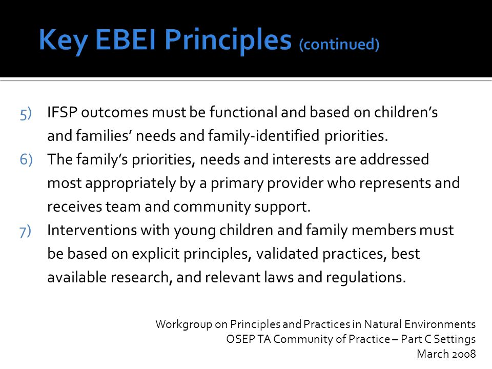  Review of current Part C policies, practices, outcomes, funding, compliance with federal regulations, leveraging resources, and providing appropriate services to families and their children  'The Ohio Early Childhood Cabinet recognizes that Ohio's overall approach to Part C services and supports needs to be more clearly articulated in order to eliminate glaring disparities and be consistent through the state in what is available to eligible children and their families'  Members of workgroup: Parents; State Agencies: ODADAS, DODD, ODH, ODJFS, ODMH, ODDC, OECC, OFCF; Local FCFs; Local County Boards; Community Providers; HMG Project Directors; Ohio Help Me Grow Advisory Council; University Centers for Excellence in Developmental Disabilities; Samaritan Behavioral Health; Ohio Commission on Fatherhood