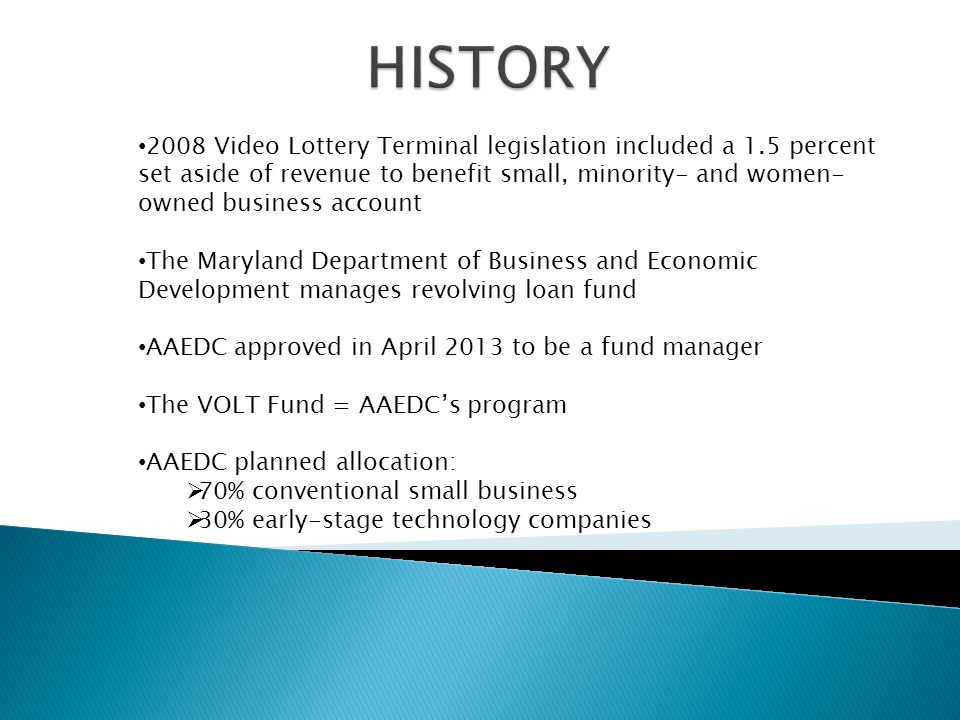 TARGETED AREAS: 50% of the fund to small businesses located within a 10-mile radius of Maryland's three casinos:  Maryland Live.