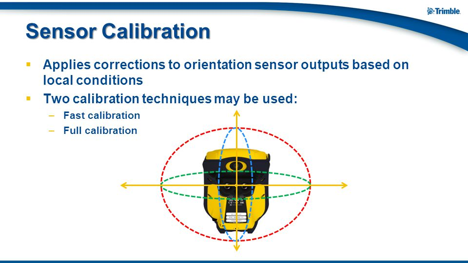  Applies corrections to orientation sensor outputs based on local conditions  Two calibration techniques may be used: –Fast calibration –Full calibr