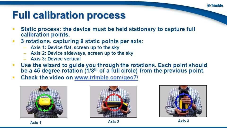  Static process: the device must be held stationary to capture full calibration points.  3 rotations, capturing 8 static points per axis: –Axis 1: D