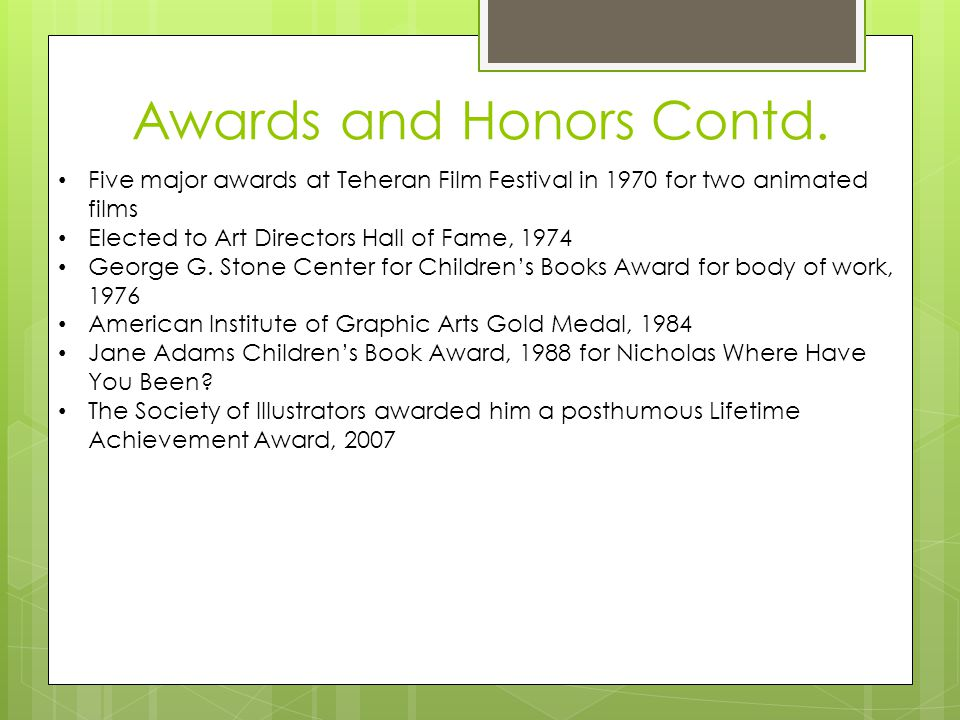 Awards and Honors Contd.