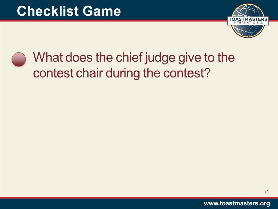 What does the chief judge give to the contest chair during the contest 10 Checklist Game
