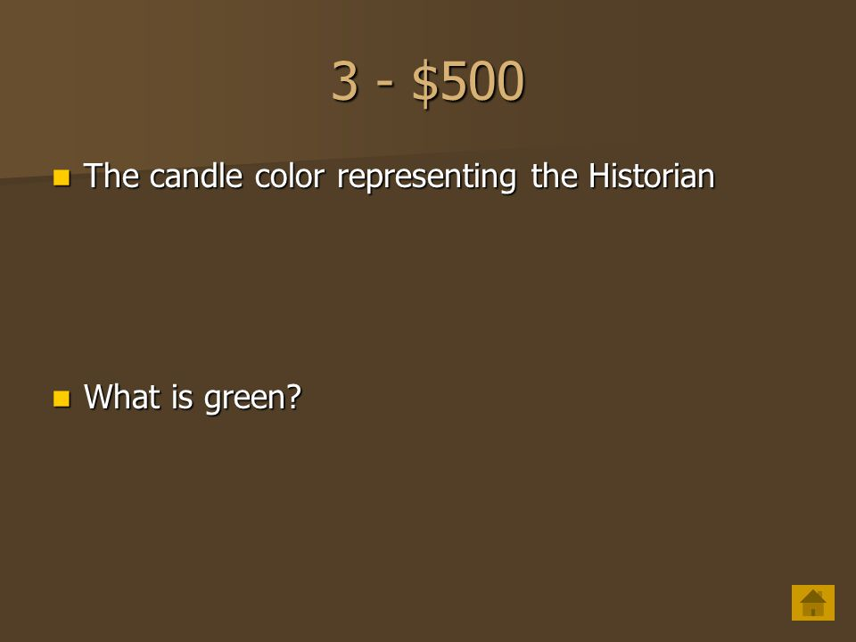 3 - $400 Candle color representing the Parliamentarian Candle color representing the Parliamentarian What is gray? What is gray?