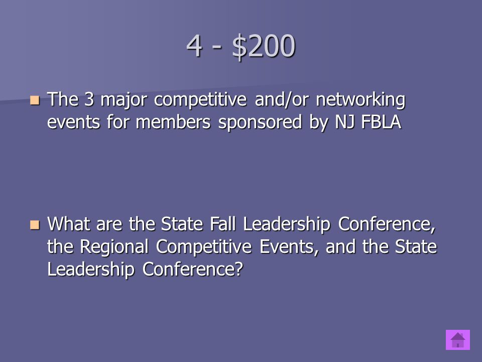 4 - $100 The four NJ FBLA regions The four NJ FBLA regions What are the Northern, North-Central, Central, and Southern Regions? What are the Northern,