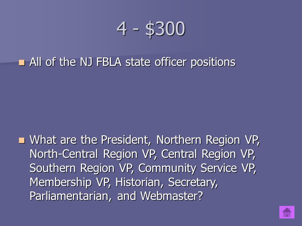 4 - $200 The 3 major competitive and/or networking events for members sponsored by NJ FBLA The 3 major competitive and/or networking events for member
