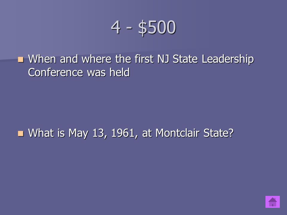 4 - $400 When and where the first NJ FBLA chapter was chartered When and where the first NJ FBLA chapter was chartered What is October 16, 1947, in Pe