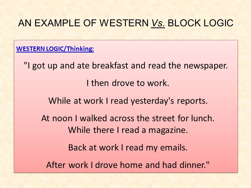 AN EXAMPLE OF WESTERN Vs.