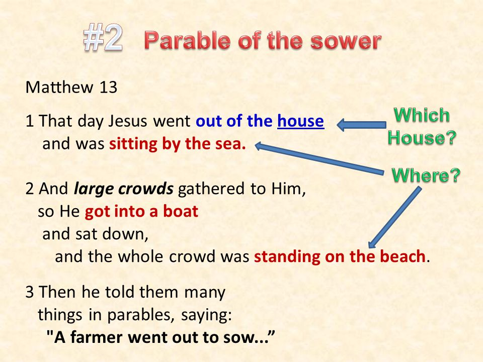 Matthew 13 1 That day Jesus went out of the house and was sitting by the sea. 2 And large crowds gathered to Him, so He got into a boat and sat down,