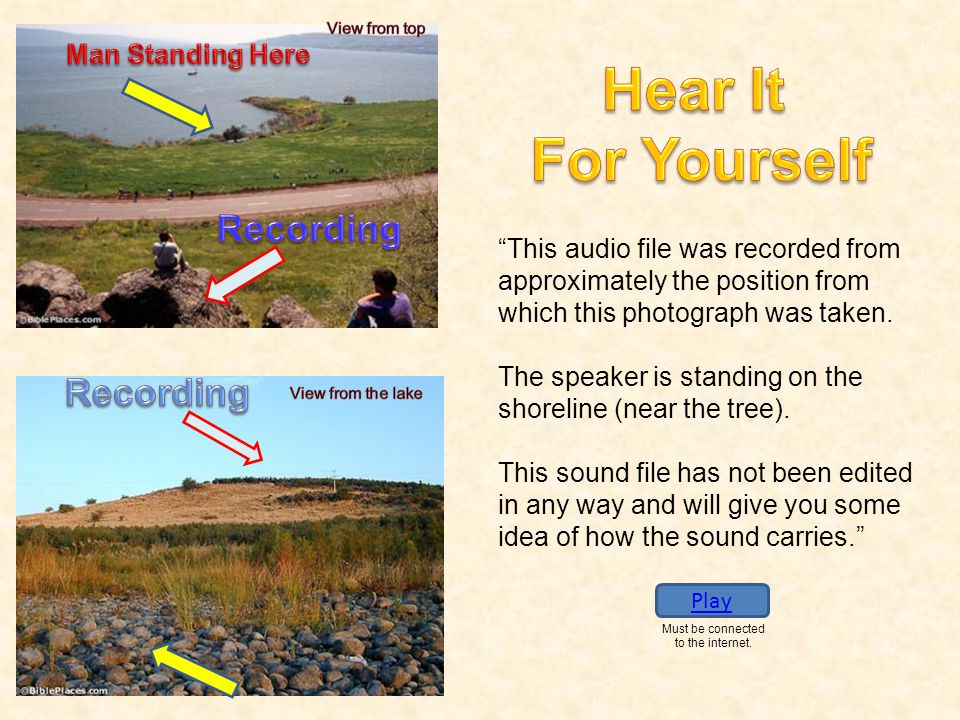 """This audio file was recorded from approximately the position from which this photograph was taken. The speaker is standing on the shoreline (near the"