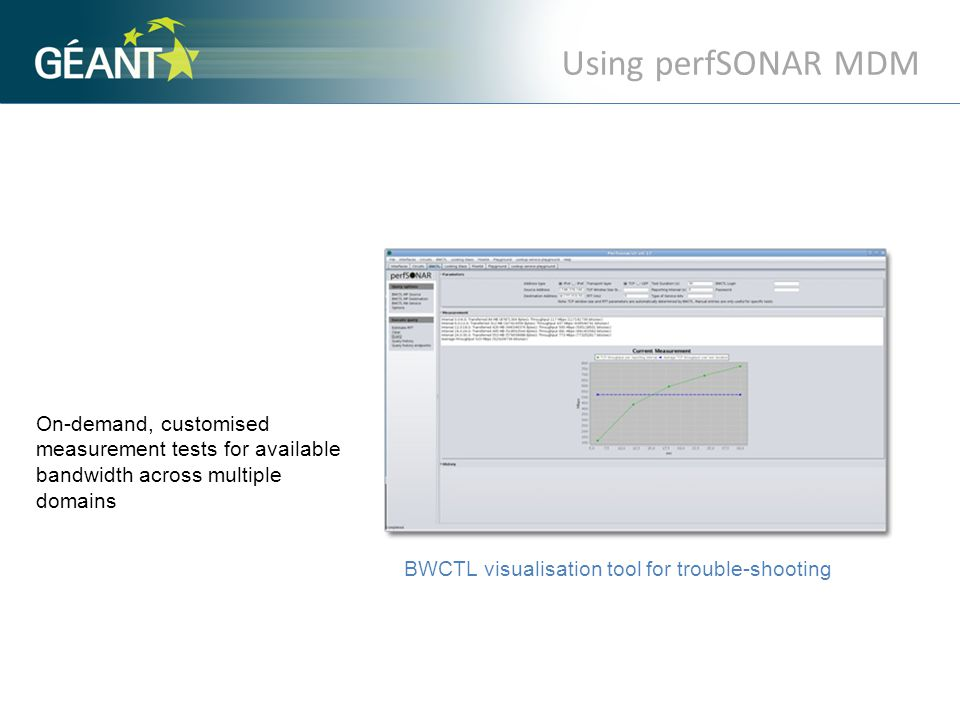 BWCTL visualisation tool for trouble-shooting On-demand, customised measurement tests for available bandwidth across multiple domains Using perfSONAR MDM.