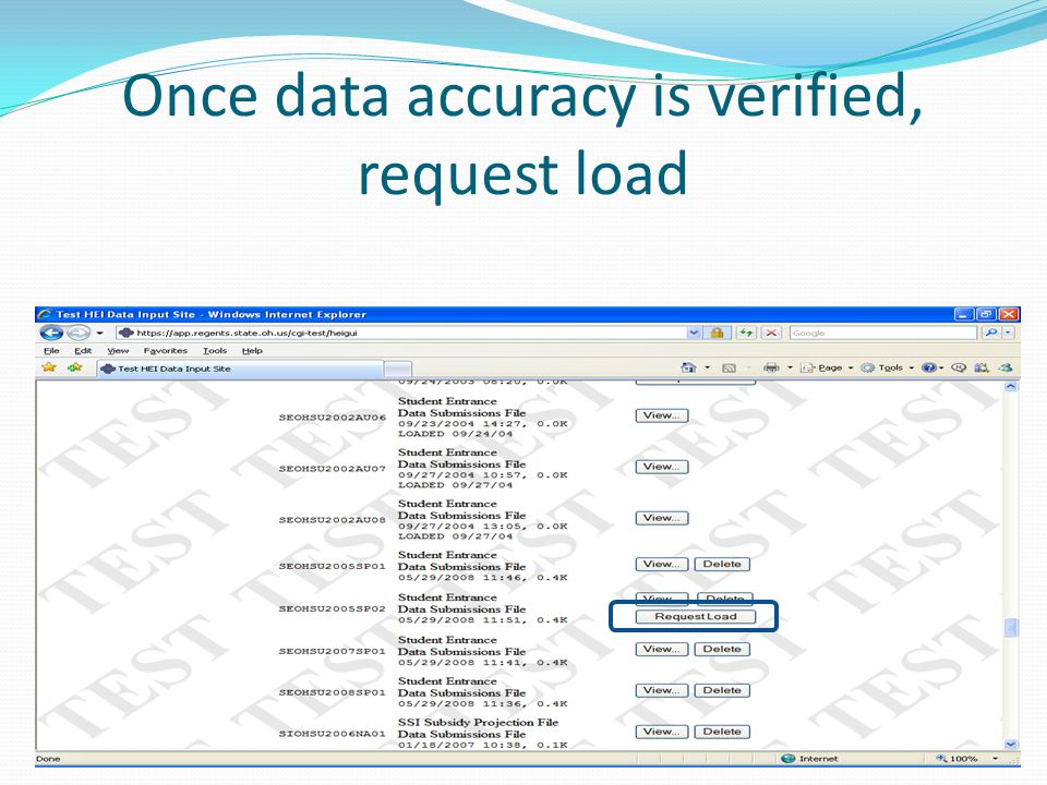 Once data accuracy is verified, request load