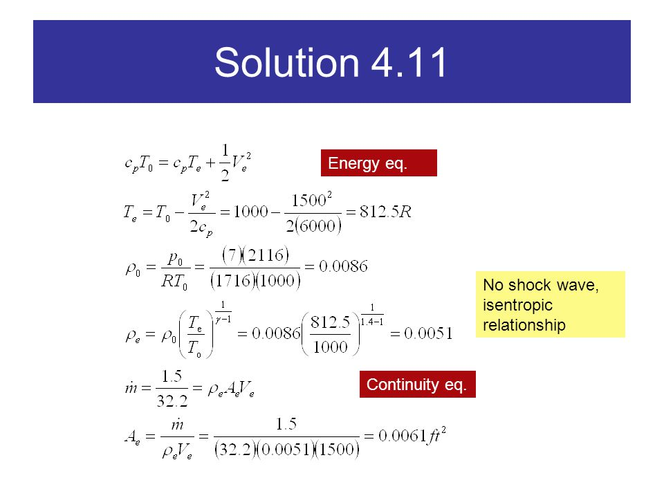 Solution 4.11 Energy eq. Continuity eq. No shock wave, isentropic relationship