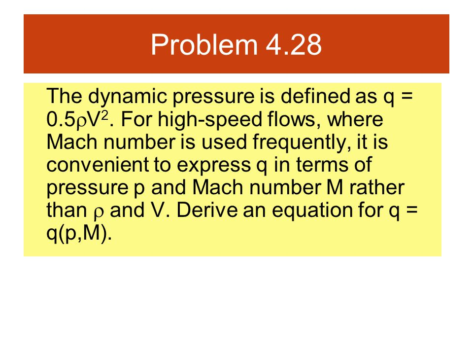 Problem 4.28 The dynamic pressure is defined as q = 0.5  V 2. For high-speed flows, where Mach number is used frequently, it is convenient to express