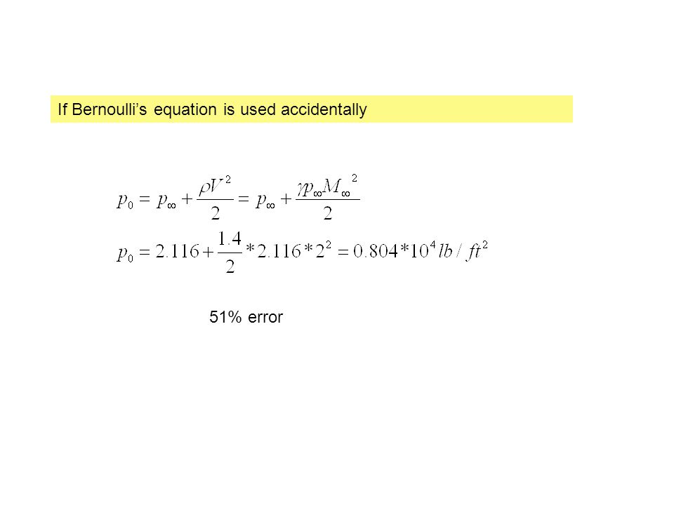 If Bernoulli's equation is used accidentally 51% error