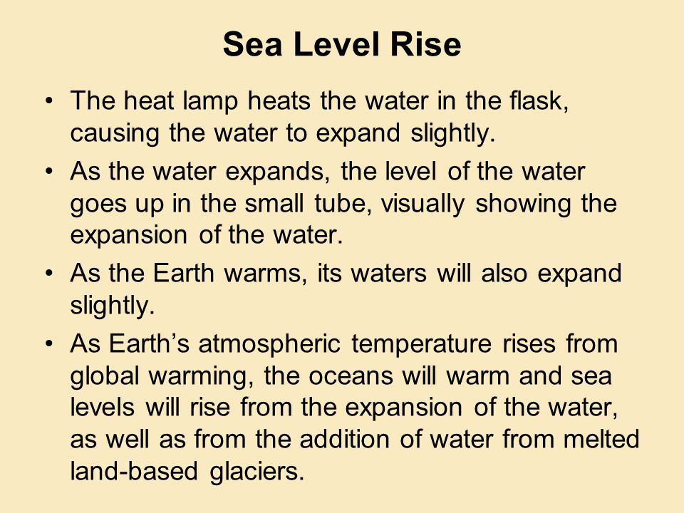 The heat lamp heats the water in the flask, causing the water to expand slightly.