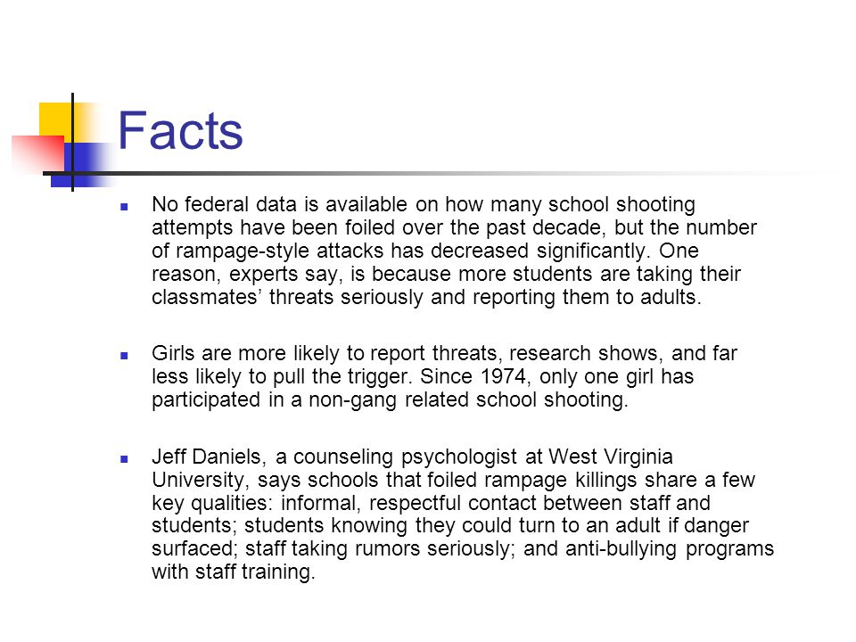 Facts No federal data is available on how many school shooting attempts have been foiled over the past decade, but the number of rampage-style attacks