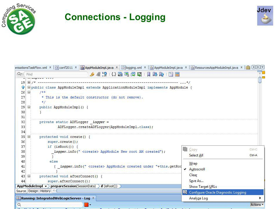 Connections - Logging Jdev