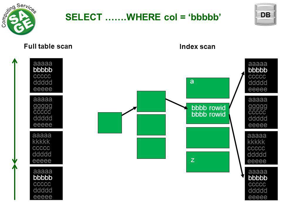 SELECT …….WHERE col = 'bbbbb' Full table scan Index scan aaaaa bbbbb ccccc ddddd eeeee aaaaa ggggg ccccc ddddd eeeee aaaaa kkkkk ccccc ddddd eeeee aaaaa bbbbb ccccc ddddd eeeee a z bbbb rowid aaaaa bbbbb ccccc ddddd eeeee aaaaa ggggg ccccc ddddd eeeee aaaaa kkkkk ccccc ddddd eeeee aaaaa bbbbb ccccc ddddd eeeee DB