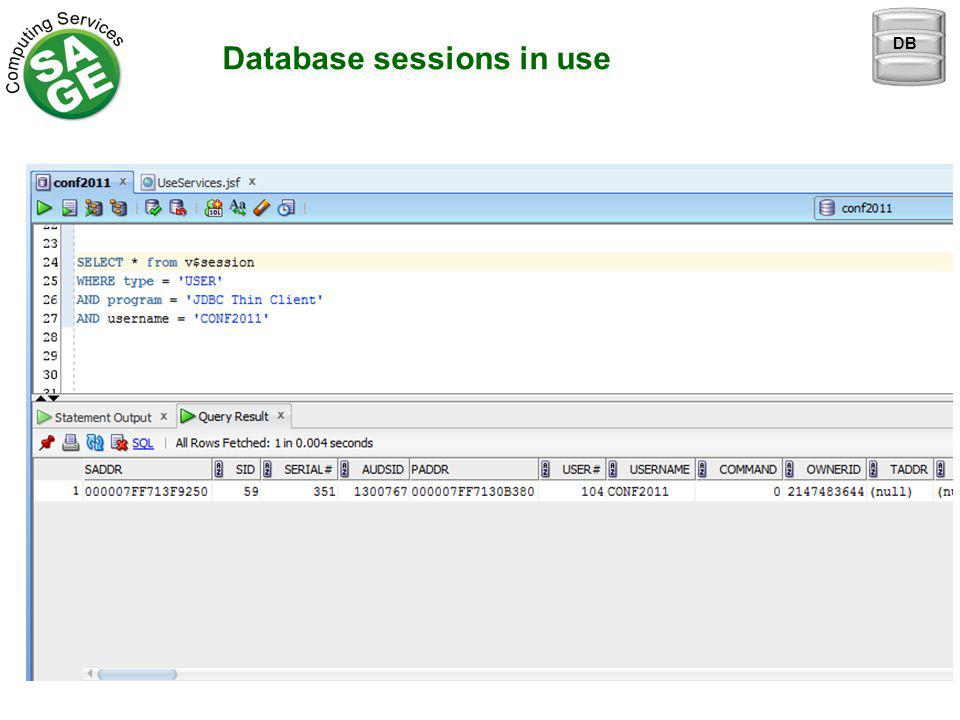Database sessions in use DB
