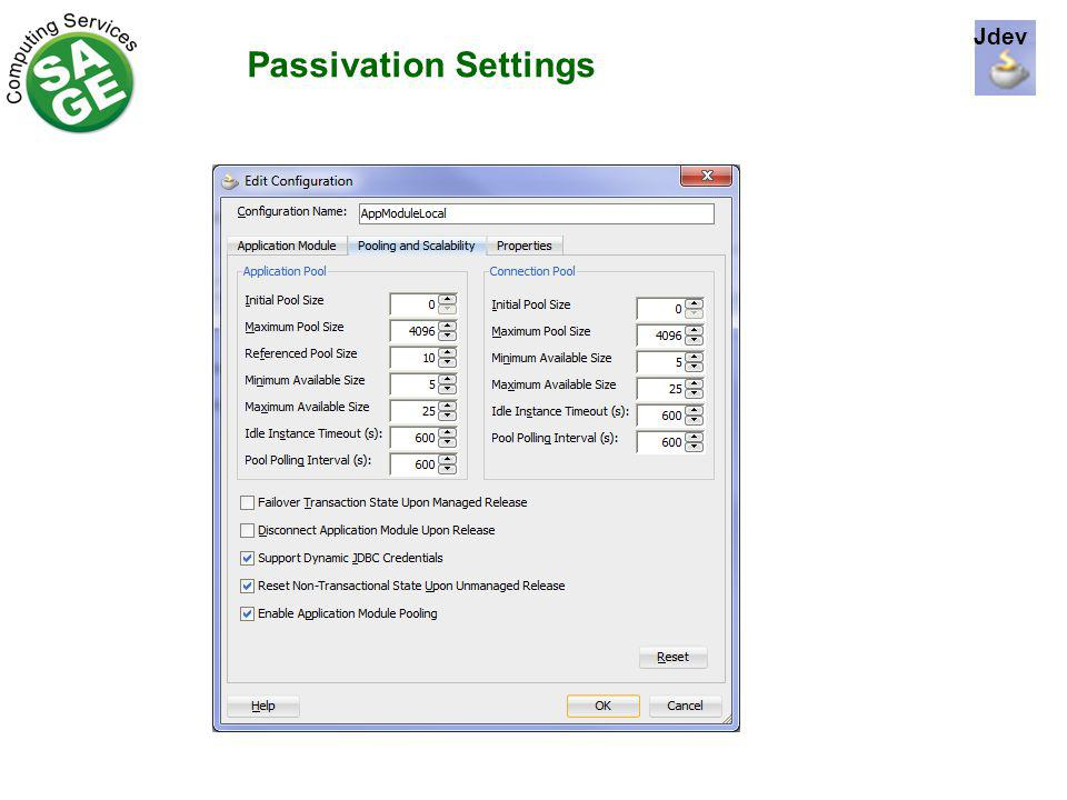 Passivation Settings Jdev