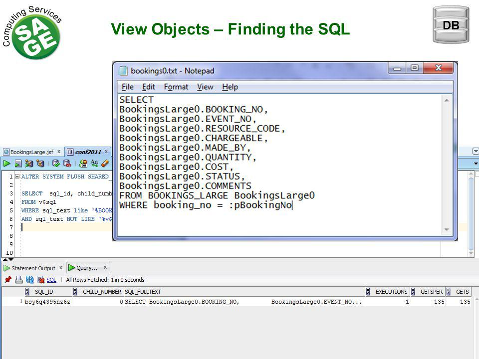 View Objects – Finding the SQL DB