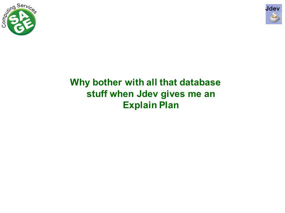Why bother with all that database stuff when Jdev gives me an Explain Plan Jdev