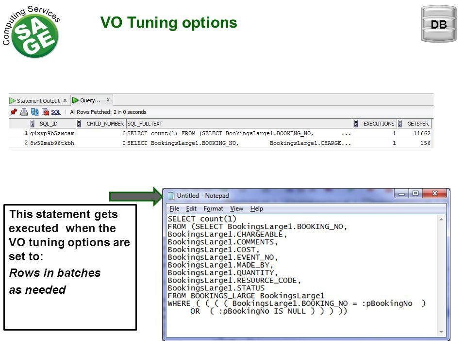VO Tuning options This statement gets executed when the VO tuning options are set to: Rows in batches as needed DB