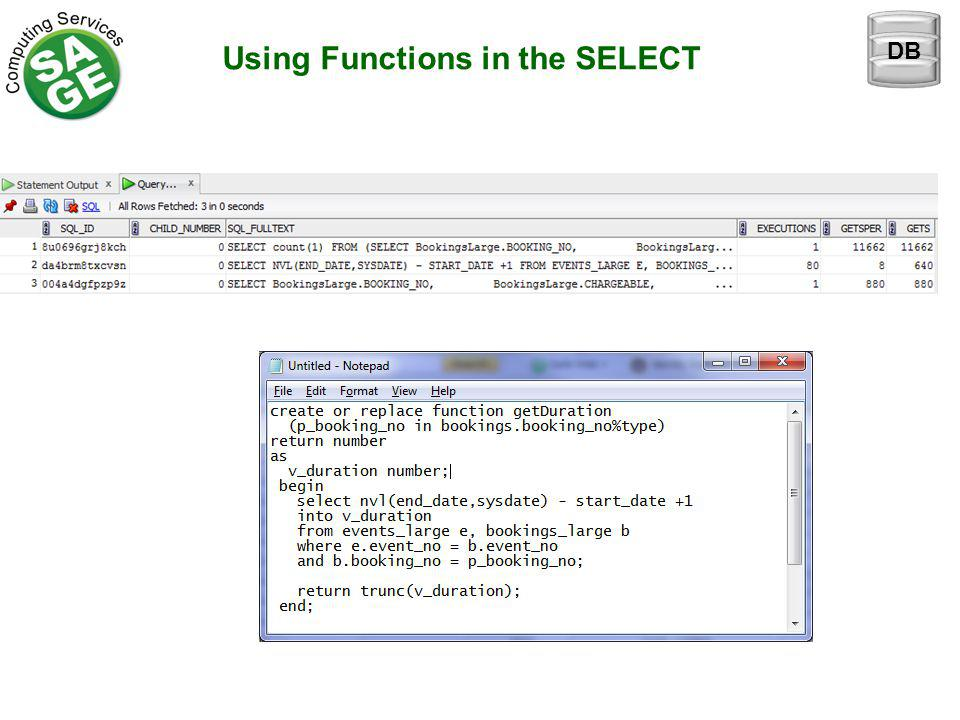 Using Functions in the SELECT DB