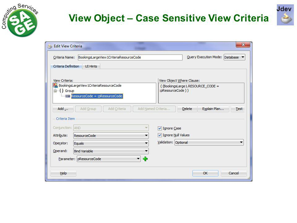 View Object – Case Sensitive View Criteria Jdev