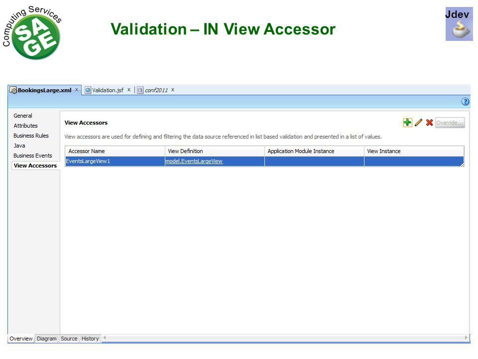 Validation – IN View Accessor Jdev