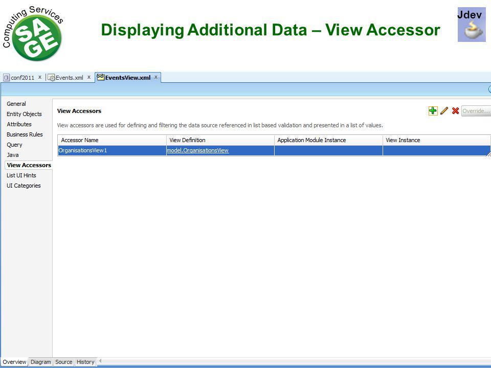 Displaying Additional Data – View Accessor Jdev