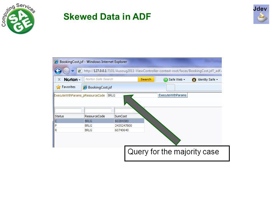 Skewed Data in ADF Query for the majority case Jdev