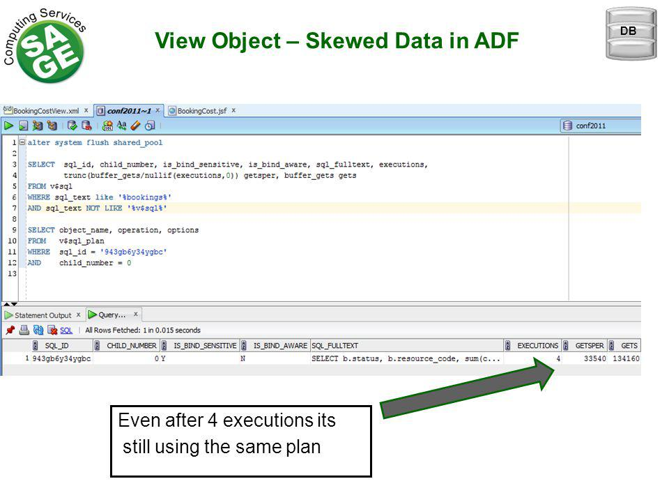 View Object – Skewed Data in ADF Even after 4 executions its still using the same plan DB