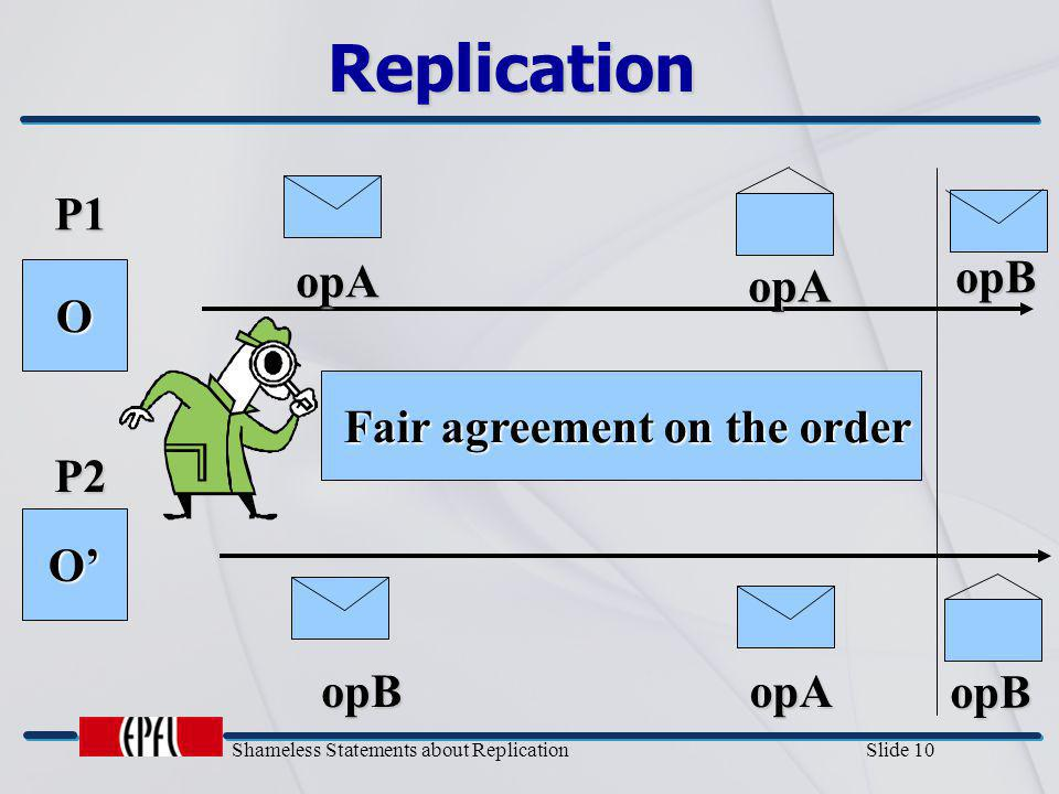 Shameless Statements about Replication Slide 10 Replication P1 P2 O O' opA opB Fair agreement on the order Fair agreement on the order opA opB opAopB