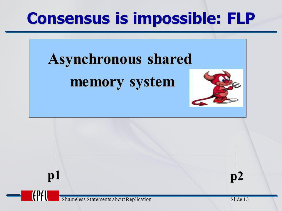 Shameless Statements about Replication Slide 13 Consensus is impossible: FLP Asynchronous shared memory system p1 p2